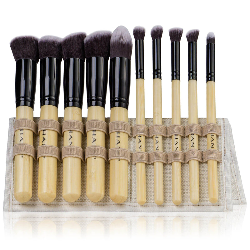SHANY Mini Artisan's Easel Bamboo – Elite Cosmetics Brush Collection - Complete Kabuki Makeup Brush Set with Standing Convertible Brush Holder - 10 pcs - SHOP BAMBOO - BRUSH SETS - ITEM# SH-BR0010-BM