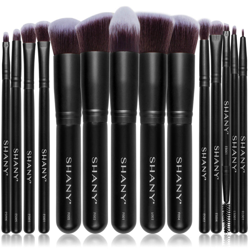 SHANY Black Bombshell 14-Piece Brush Set – Elite Cosmetics Brush Collection - Complete Kabuki Makeup Brush Set in Black  - 14 PCS - SHOP BLACK - BRUSH SETS - ITEM# SH-BR0014-BK