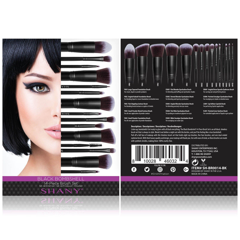 SHANY Black Bombshell 14-Piece Complete Makeup Brush Set in Black - 14 PCS - BLACK - ITEM# SH-BR0014-BK - Listen up, bombshells! SHANY Black Bombshell Brush Set can easily transform your makeup collection with their beautiful charcoal tones. This 14-piece brush set is made with professional grade synthetic bristles wi