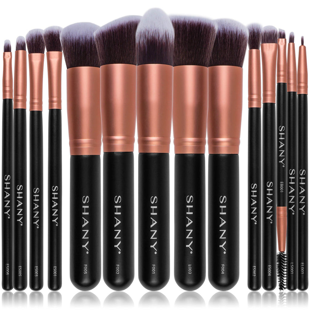 SHANY Rose All Day 14-Piece Brush Set – Elite Cosmetics Brush Collection - Complete Kabuki Makeup Brush Set in Rose Gold - 14 PCS - SHOP ROSE GOLD - BRUSH SETS - ITEM# SH-BR0014-RG