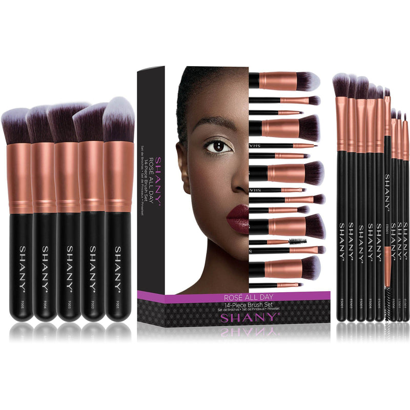 SHANY Rose All Day 14-Piece Makeup Brush Set - ROSE GOLD - ITEM# SH-BR0014-RG - makeup contour brush set Holiday gift for her mom,it cosmetics brushes BH brush set BS-MALL Makeup,morphe brush set Makeup Brushes Premium Synthetic,cosmetics brush set applicator makeup brush sets,makeup brush set with case Zoreya brush bag makeup - UPC# 810028460317