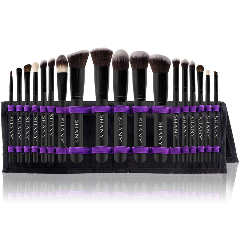 SHANY Artisan's Easel – Elite Cosmetics Brush Collection, Complete Kabuki Makeup Brush Set with Standing Convertible Brush Holder, 18 pcs - SHOP BLACK - BRUSH SETS - ITEM# SH-BR0018-BK