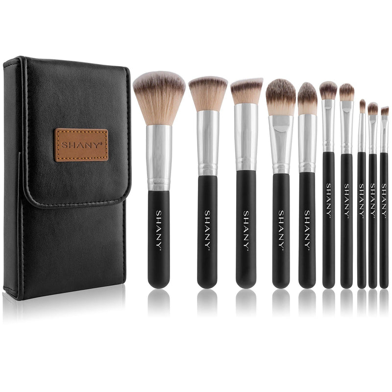 SHANY Black OMBRÉ Pro 10 PC Essential Brush Set with Travel Pouch - SHOP  - BRUSH SETS - ITEM# SH-BR002