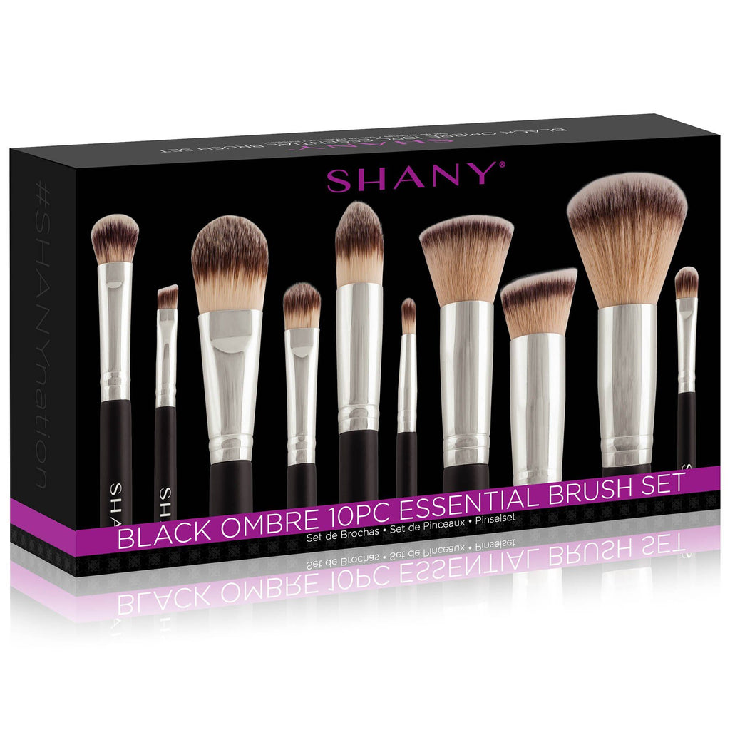 SHANY Black OMBRÉ Pro Essential Brush Set- 10pc -  - ITEM# SH-BR002 - makeup contour brush set kit women airbrush eye,face essential cosmetics case eyeshadow eyeliner,foundation blending blusher lip powder liquid bag,highlighter holder synthetic urban decay cream,ecotools professional mermaid elf vanity morphe - UPC# 723175176898
