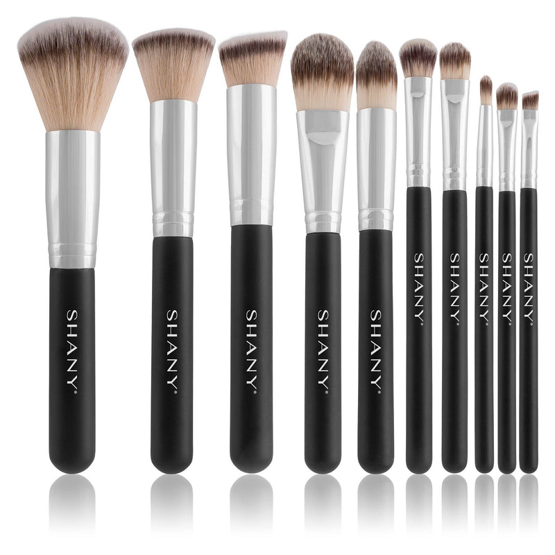 SHANY Black OMBRÉ Pro 10 PC Essential Brush Set with Travel Pouch -  - ITEM# SH-BR002 - The SHANY OMBRÉ Pro Essential Brush Set with Travel Pouch features medium-sized brushes for daily use. This set includes 10 synthetic brushes for powder, foundation, blush, bronzer, eye shadow, concealer, and contouring. The bristl