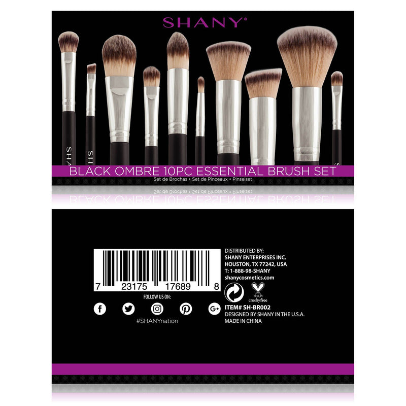 SHANY Black OMBRÉ Pro Essential Brush Set- 10pc -  - ITEM# SH-BR002 - Best seller in cosmetics BRUSH SETS category