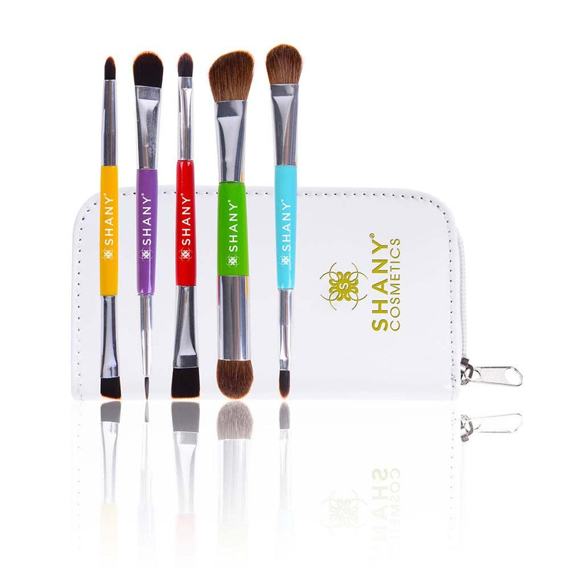 SHANY THE DOUBLE TROUBLE - 5 PC Double Sided Essential Brush Set with Travel Pouch - SHOP  - BRUSH SETS - ITEM# SH-BR003