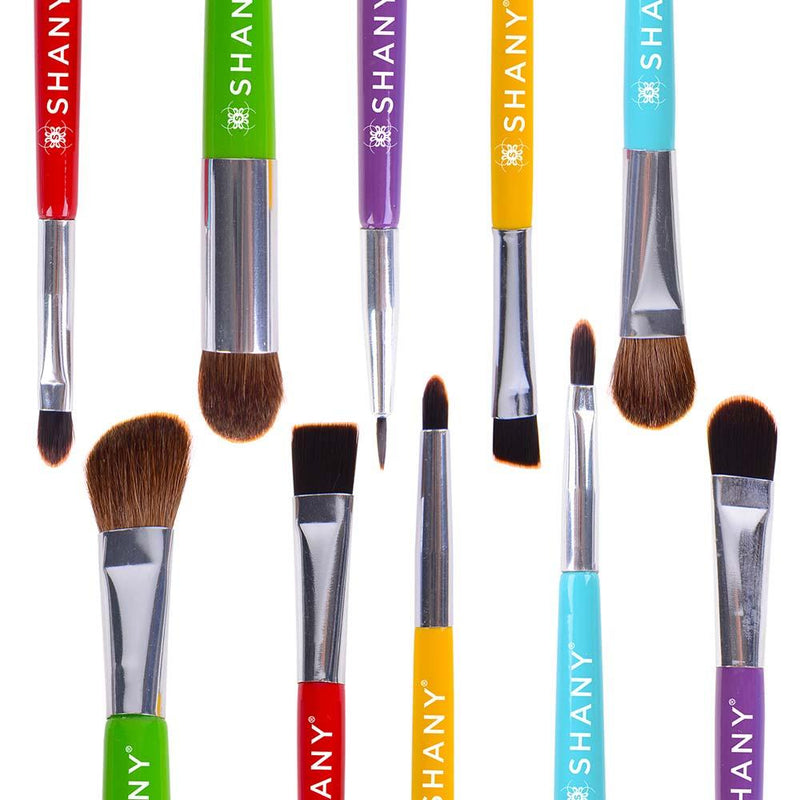 SHANY THE DOUBLE TROUBLE - 5 PC Double Sided Essential Brush Set W/Travel Pouch -  - ITEM# SH-BR003 - This unique collection features 6 long-lasting, double sided brushes for ease of use and perfect makeup application. Smaller brushes define and line the eye and larger brushes are ideal for eye shadow contouring. This