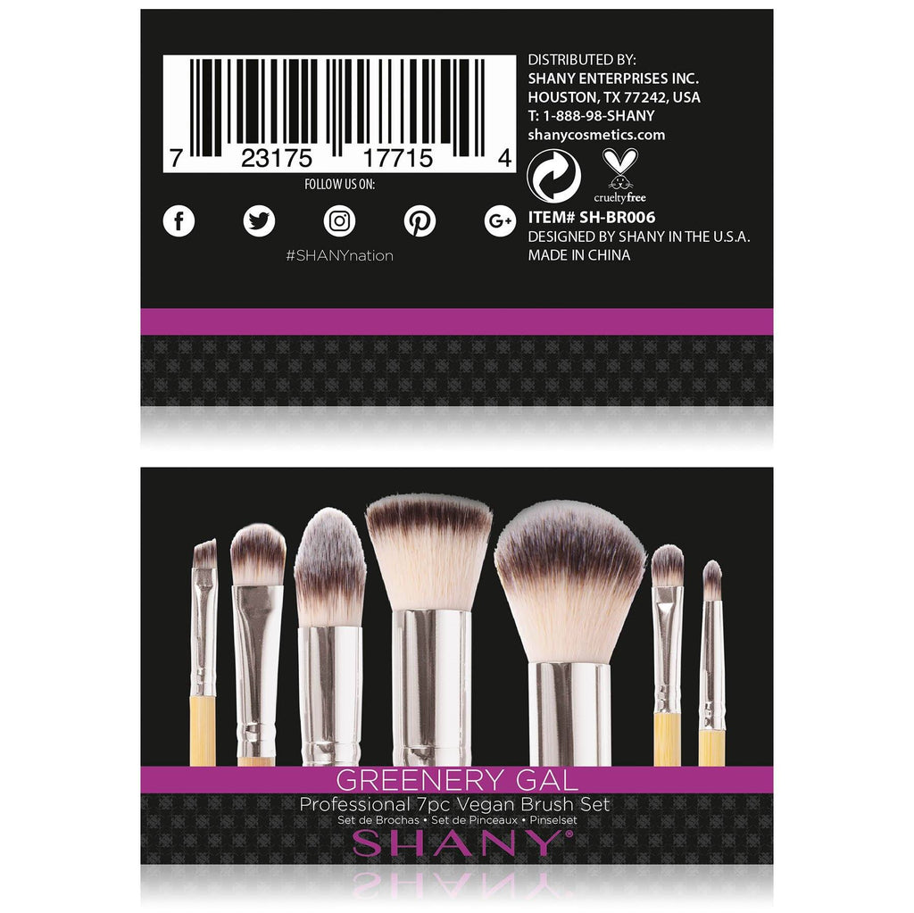 SHANY I love Bamboo - 7pc Petite Pro Bamboo Brush -  - ITEM# SH-BR006 - makeup contour brush set kit women airbrush eye,face essential cosmetics case eyeshadow eyeliner,foundation blending blusher lip powder liquid bag,highlighter holder synthetic urban decay cream,ecotools professional mermaid elf vanity morphe - UPC# 723175177154