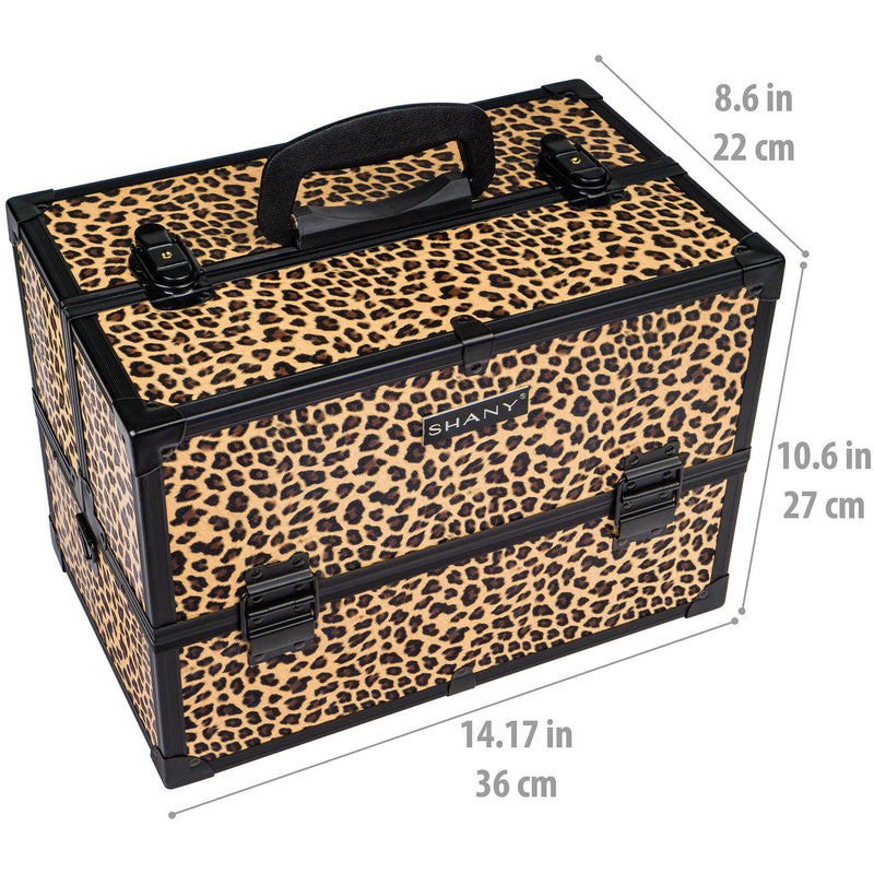 "SHANY Essential Pro Makeup Train Case with Shoulder Strap and Locks - Leopard - LEOPARD - ITEM# SH-C005-LP - <p><span style=""font-family: verdana,arial,helvetica,sans-serif; font-size: small;"">The SHANY Essential Pro Makeup Train Case is made from high quality products but won't break the bank. This aluminum exterior"