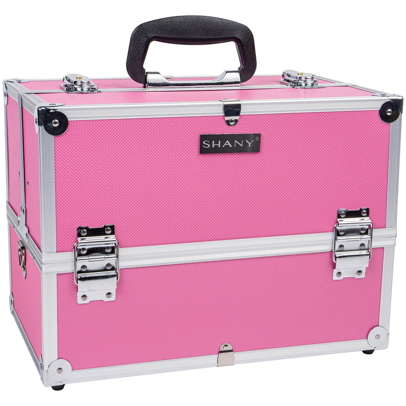 SHANY Essential Pro Makeup Train Case with Shoulder Strap and Locks - Pink - SHOP PINK - MAKEUP TRAIN CASES - ITEM# SH-C005-PK