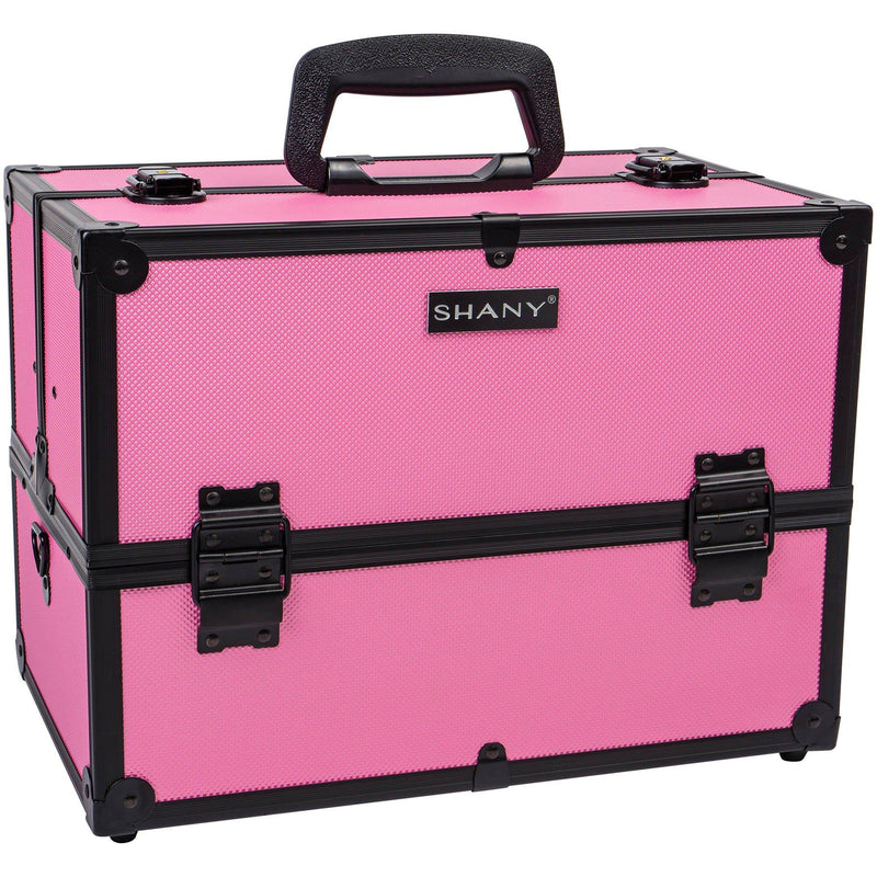 SHANY Essential Pro Makeup Train Case with Shoulder Strap and Locks - Pink/Black - SHOP ROSE - MAKEUP TRAIN CASES - ITEM# SH-C005-PB