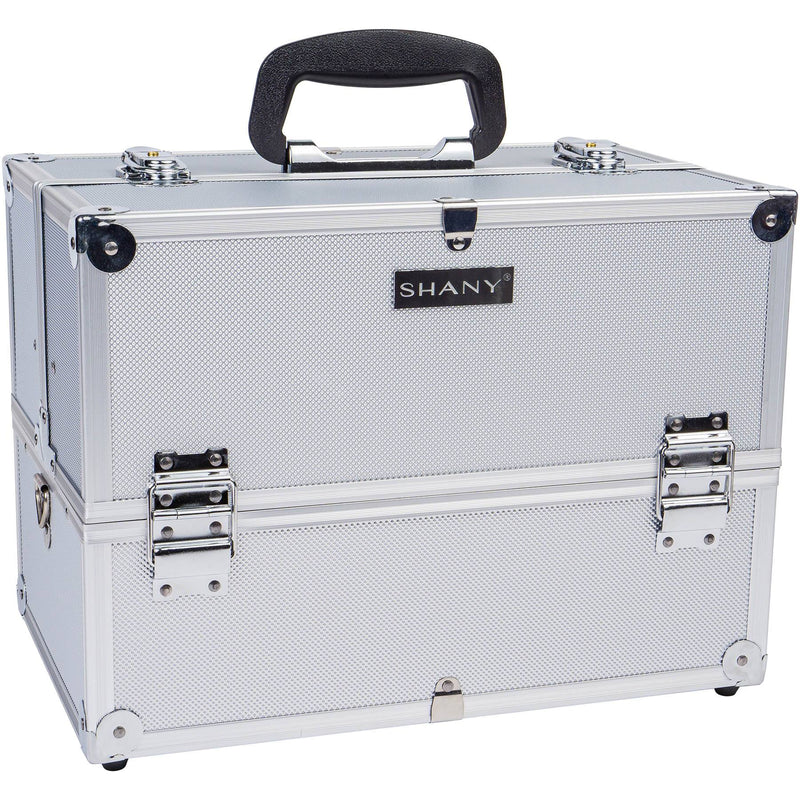 SHANY Essential Pro Makeup Train Case with Shoulder Strap and Locks - Silver - SHOP SILVER - MAKEUP TRAIN CASES - ITEM# SH-C005-SL