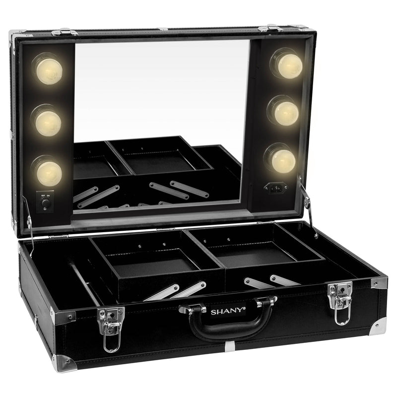 SHANY Studio-To-Go Tabletop Mirror Cosmetics Station – Makeup Case with Dimmable LED Lights Included and Carrying Handle – BLACK - SHOP BLACK - ROLLING MAKEUP CASES - ITEM# SH-CC0020-BK