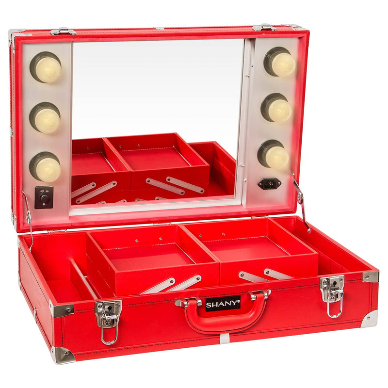 SHANY Studio To Go Tabletop Mirror Makeup Station - Makeup Case with Dimmable LED Lights Included and Carrying Handle - RED - SHOP RED - ROLLING MAKEUP CASES - ITEM# SH-CC0020-PK