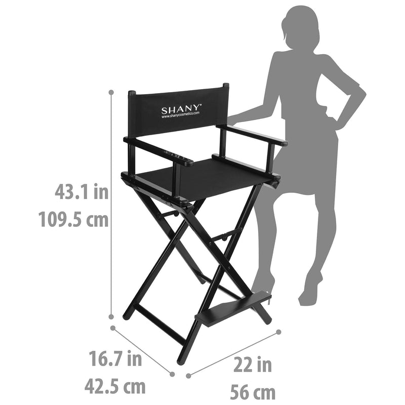 SHANY Studio Director Chair - Makeup Artists Chair - Black -  - ITEM# SH-CC0021 - It's a standard size studio chair, with aluminum legs and heavy duty fabric which wont loosen up over time. SHANY logo is printed in front and back up the fabric. - ASIN# B009M1JCH0