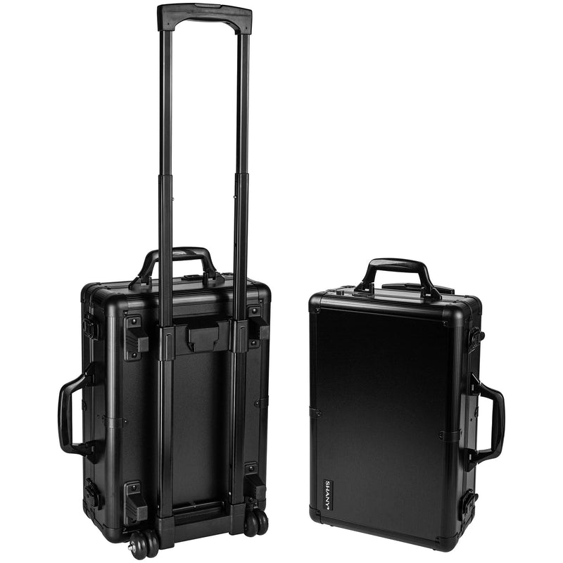 SHANY Mini Studio To Go Case - Black - BLACK - ITEM# SH-CC0022-BK - Rolling cosmetics cases Makeup Case with wheels,Cosmetics trolley makeup artist case storage bag,Seya just case aluminum makeup case display set,professional makeup organizer gift idea Makeup bag,portable makeup carry on cosmetics organizer light - UPC# 030955521916
