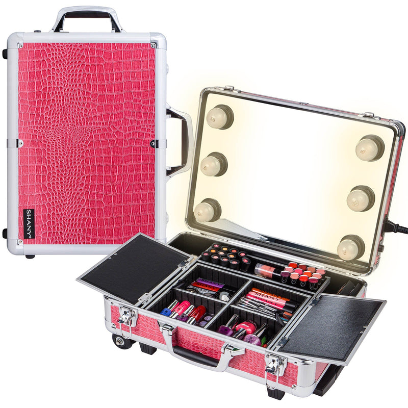 SHANY Mini Studio ToGo Makeup Case with Lights - Pink - SHOP PINK - ROLLING MAKEUP CASES - ITEM# SH-CC0022-PK