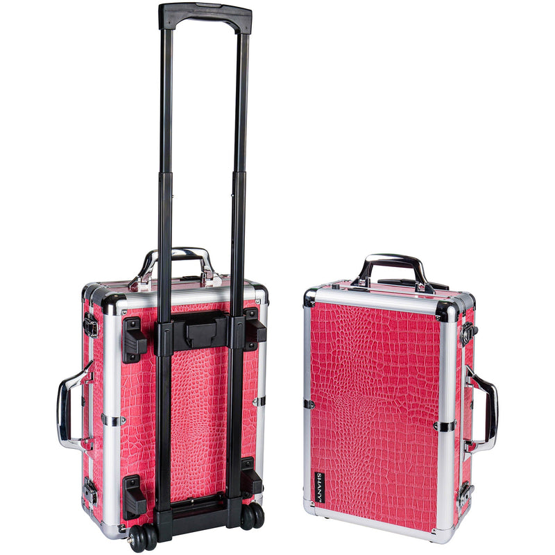 SHANY Mini Studio to Go - Pink - PINK - ITEM# SH-CC0022-PK - Rolling cosmetics cases Makeup Case with wheels,Cosmetics trolley makeup artist case storage bag,Seya just case aluminum makeup case display set,professional makeup organizer gift idea Makeup bag,portable makeup carry on cosmetics organizer light - UPC# 765573985597