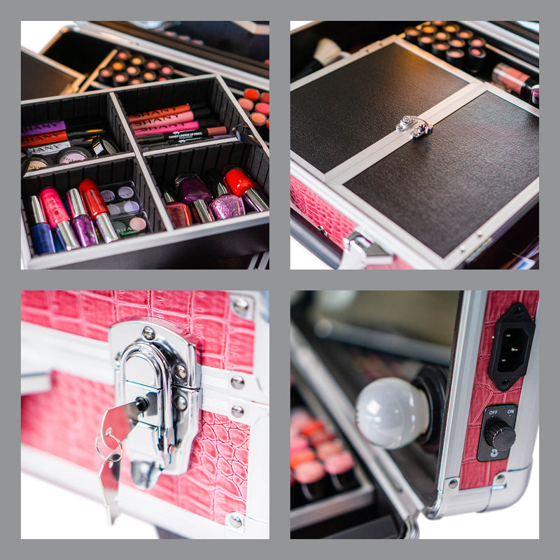 SHANY cosmetics Mini Studio ToGo Makeup Case Organize with Lights wheels - PINK - PINK - ITEM# SH-CC0022-PK - It's the mini version of the studio to go collection, it's smaller, more affordable and perfect for starter artists, even some professionals go with smaller version, since it's easier to carry around and can b