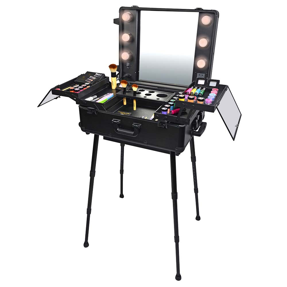 SHANY Studio ToGo Wheeled Trolley Makeup Case & Organizer with Light - SHOP BLACK - MAKEUP TRAIN CASES - ITEM# SH-CC0023-PARENT