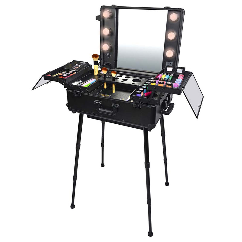 SHANY Studio ToGo Wheeled Trolley Makeup Case & Organizer with Light - SHOP BLACK - ROLLING MAKEUP CASES - ITEM# SH-CC0023-PARENT