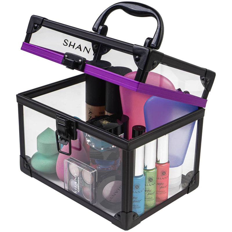 SHANY Large Clear Cosmetics and Toiletry Train Cases with Secure Closure - Large - ITEM# SH-CC0080-L - The SHANY Large Clear Cosmetics and Toiletry Train Case is a versatile and durable cosmetics case, perfect for traveling or makeup storage. Made from a clear acrylic, this organizer is easy to clean and lightweight,