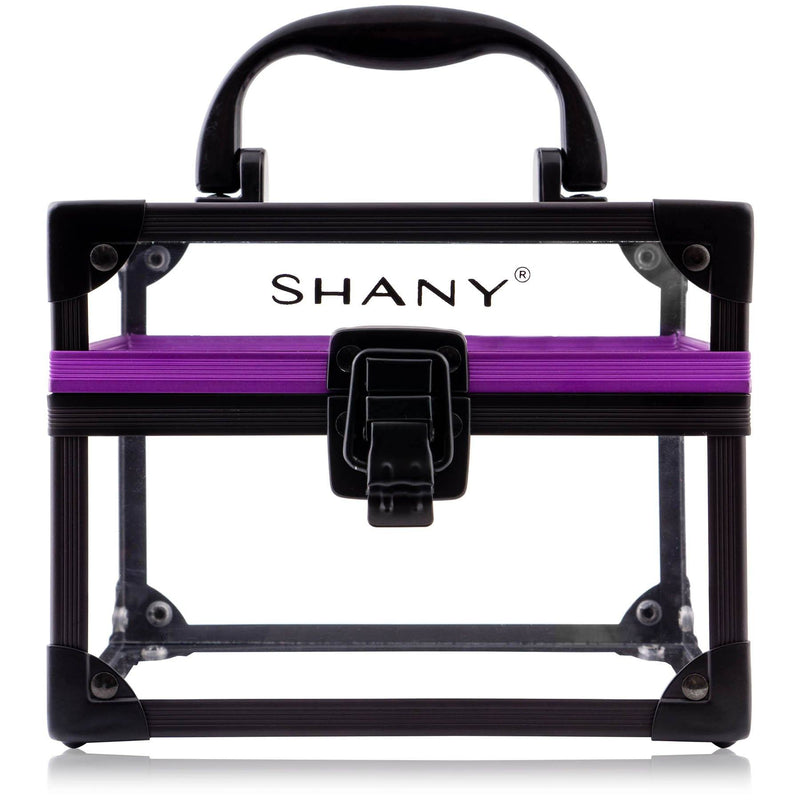 SHANY Clear Cosmetics and Toiletry Train Case - Medium-Sized Travel Makeup Organizer with Secure Closure and Black/Purple Accents - SHOP Medium - MAKEUP TRAIN CASES - ITEM# SH-CC0080-M