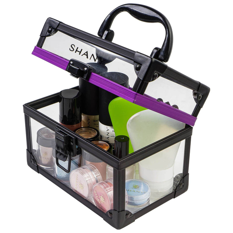SHANY Medium-Sized Clear Cosmetics and Toiletry Train Cases with Secure Closure - Medium - ITEM# SH-CC0080-M - The SHANY Medium Clear Cosmetics and Toiletry Train Case is a versatile and durable cosmetics case, perfect for traveling or makeup storage. Made from a clear acrylic, this organizer is easy to clean and ligh