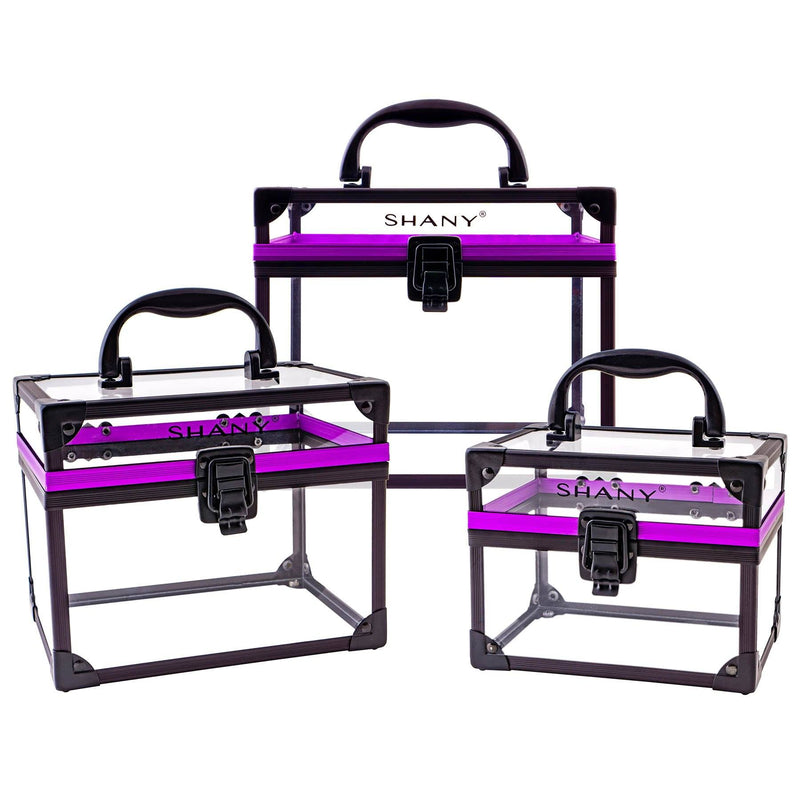 SHANY Clear Cosmetics and Toiletry Train Case - Extra Large Travel Makeup Organizer with Secure Closure and Black/Purple Accents - SHOP  - MAKEUP TRAIN CASES - ITEM# SH-CC0080-PARENT