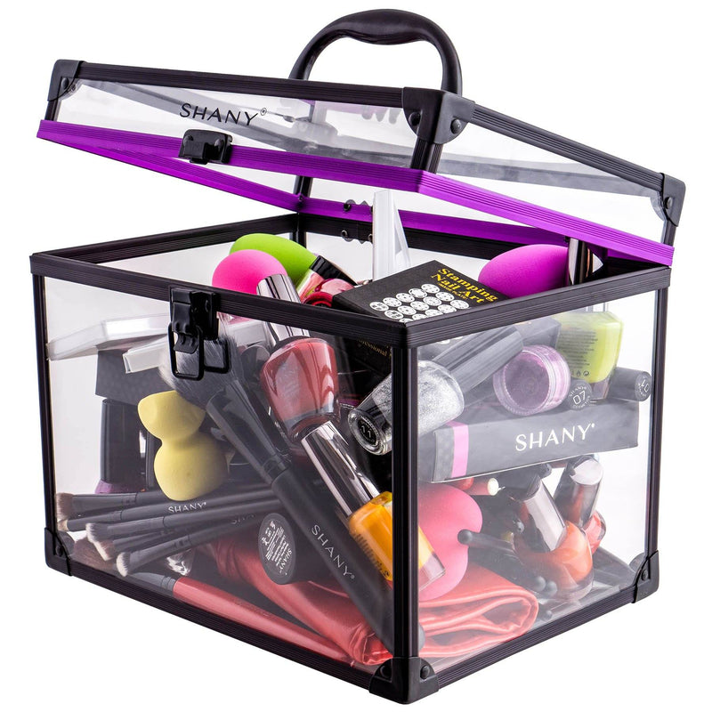 SHANY Extra-Large Clear Cosmetics and Toiletry Train Cases with Secure Closure - XL - ITEM# SH-CC0080-XL - The SHANY Extra Large Clear Cosmetics and Toiletry Train Case is a versatile and durable cosmetics case, perfect for traveling or makeup storage. Made from a clear acrylic, this organizer is easy to clean and lig