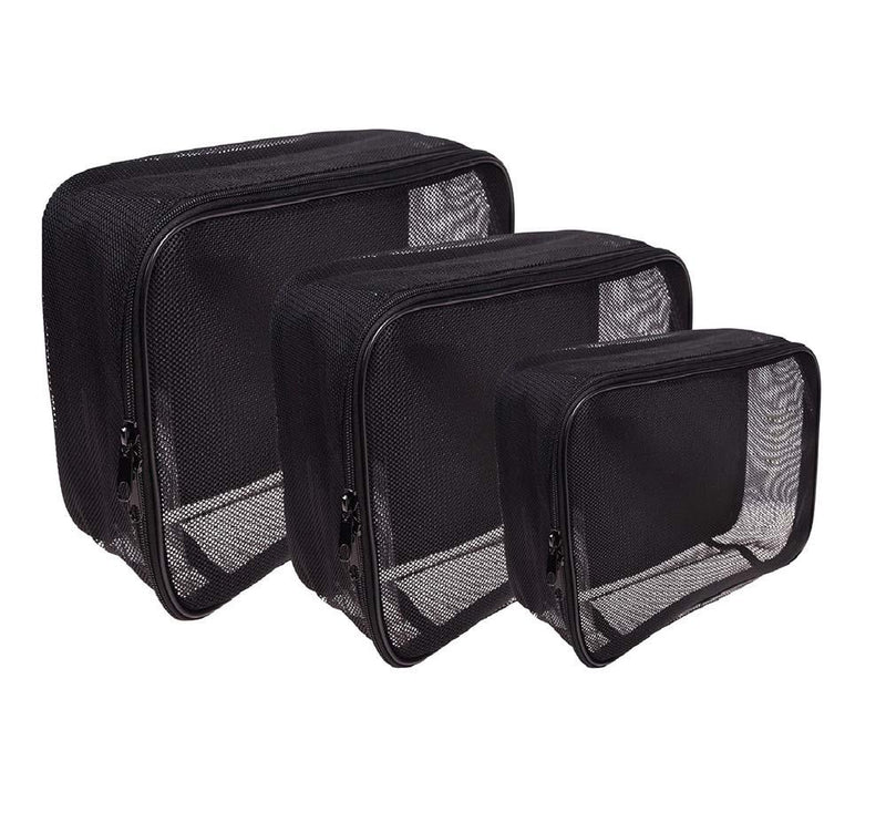 SHANY Assorted Size Cosmetics Travel Bag - Black Mesh Make Up Bag/Organizer - 3PC set - SHOP  - MESH BAGS - ITEM# SH-CL005-SET