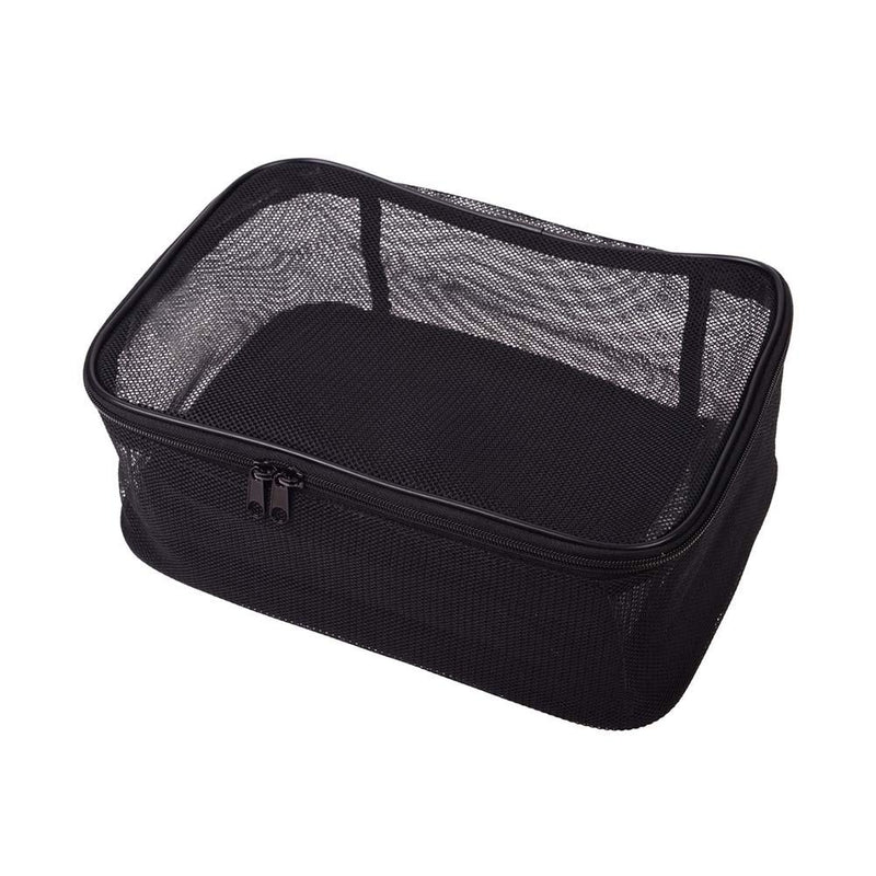 SHANY Assorted Size Cosmetics Travel Bag - Black Mesh - 3PC Set -  - ITEM# SH-CL005-SET - This multipurpose set contains 3 rectangular prism compartments with three dimensions. Made of black matt mesh making them see through and allows for breathability. The flexible and durable mesh is chosen to keep these bags light