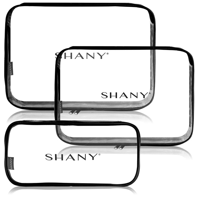 SHANY Water-Resistant Cosmetics Organizer Set - BLACK - ITEM# SH-CL006-BK - Clear travel makeup cosmetic bags carry Toiletry,PVC Cosmetic tote bag Organizer stadium clear bag,travel packing transparent space saver bags gift,Travel Carry On Airport Airline Compliant Bag,TSA approved Toiletries Cosmetic Pouch Makeup Bags - UPC# 700645933953