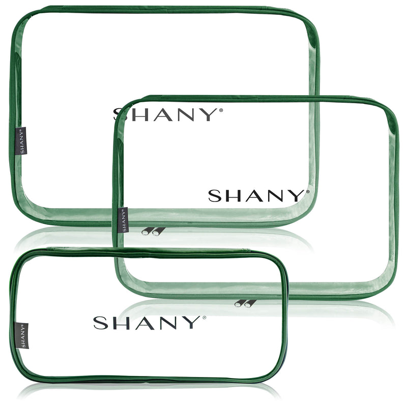 SHANY Cosmetics Organizer 3-Piece Set - OLIVE - OLIVE - ITEM# SH-CL006-OL - Clear travel makeup cosmetic bags carry Toiletry,PVC Cosmetic tote bag Organizer stadium clear bag,travel packing transparent space saver bags gift,Travel Carry On Airport Airline Compliant Bag,TSA approved Toiletries Cosmetic Pouch Makeup Bags - UPC# 700645933915