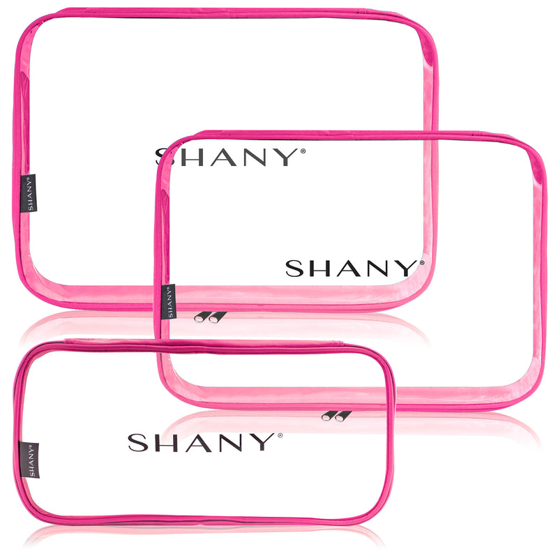 SHANY Cosmetics Organizer 3-Piece Set - PINK - PINK - ITEM# SH-CL006-PK - Clear travel makeup cosmetic bags carry Toiletry,PVC Cosmetic tote bag Organizer stadium clear bag,travel packing transparent space saver bags gift,Travel Carry On Airport Airline Compliant Bag,TSA approved Toiletries Cosmetic Pouch Makeup Bags - UPC# 700645933922