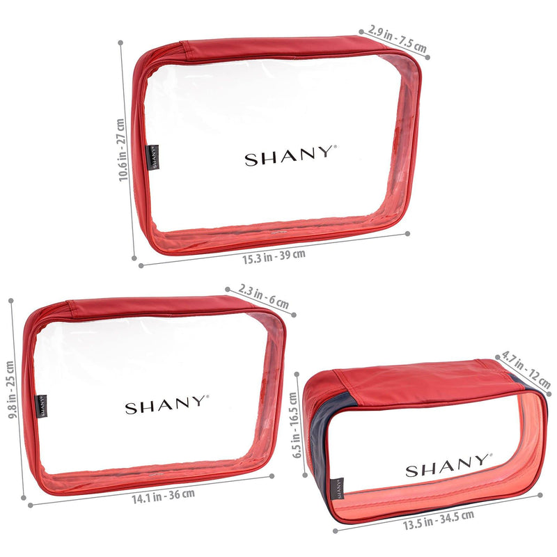 SHANY Cosmetics Organizer 3-Piece Set - RED/NAVY - BLUE/RED - ITEM# SH-CL006-RD - Best seller in cosmetics TRAVEL BAGS category