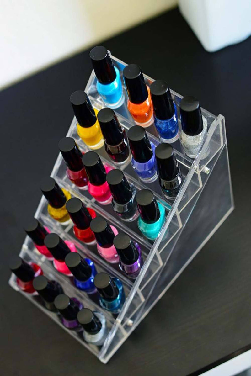SHANY Vertical Nail Polish Holder - Makeup Cosmetics Table Rack Display -  - ITEM# SH-DISH02 - Stay organized with 24 inclined separate storage spots. The incline makes it easy for you to store and access your needed products. This product is great for homes, nail salons, and makeup artist on the go. Displays elegantl