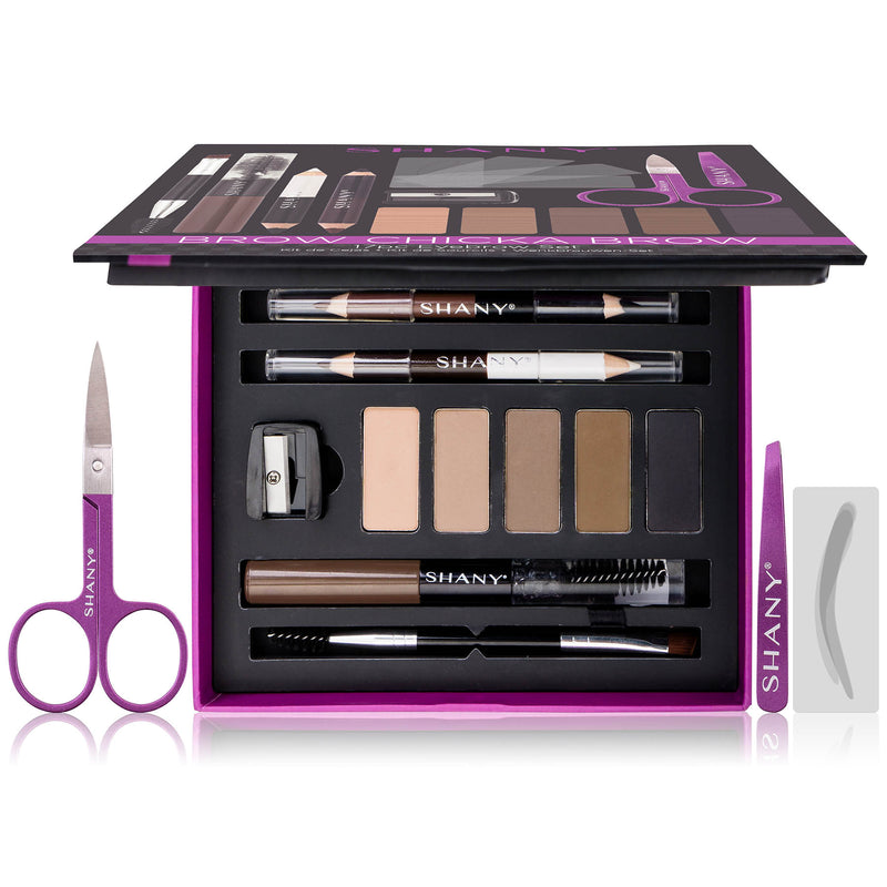 SHANY Brow Chicka Brow Eyebrow Set - 17 Piece Eyebrow Makeup Kit with Brow Powder, Brow Gel, Dual Ended Pencils, Stencils, Scissors, and Tweezers - All Hair Colors - SHOP  - BROWS & LASHES - ITEM# SH-EB600