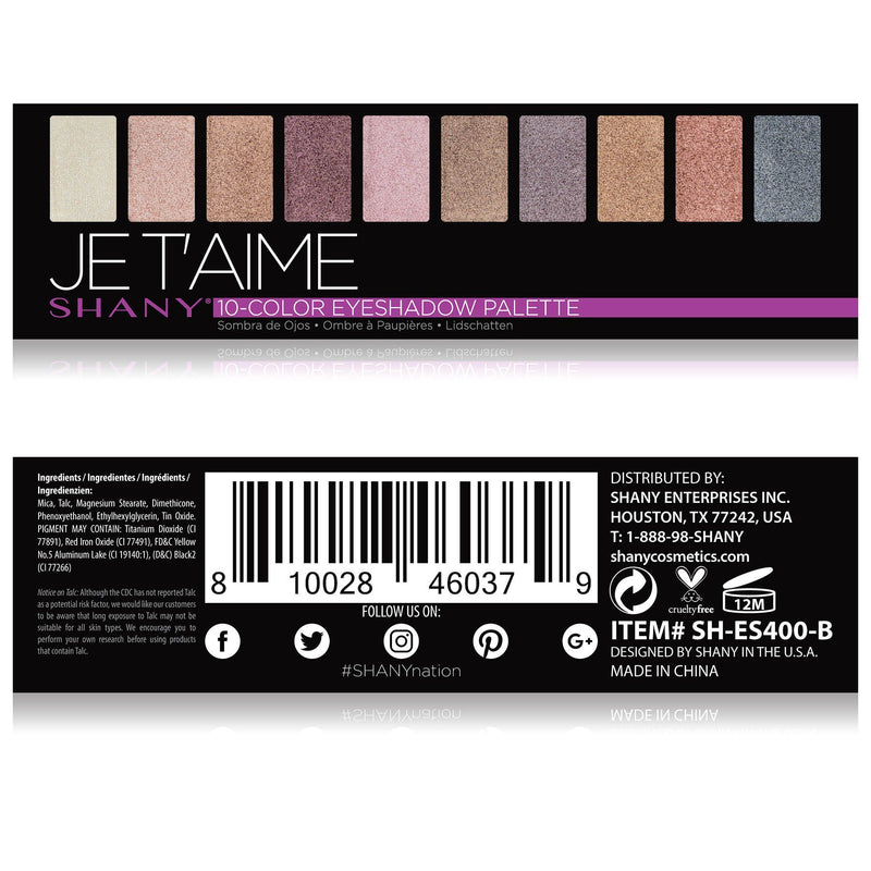 SHANY Je Taime Mini Eyeshadow Palette - 10 Nude Eyeshadows with Mirror - JE T'AIME - ITEM# SH-ES400-B - The SHANY Je Taime Eyeshadow Palette is a collection of 10 nude, blendable eyeshadows in a handy travel-sized makeup palette with a mirror. Show off your love for nudes and neutrals with this eye palette that contai