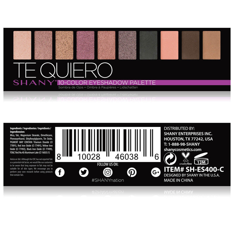 SHANY 'Te Quiero' Mini Eyeshadow Palette - 10 Nude Eyeshadows with Mirror - TE QUIERO - ITEM# SH-ES400-C - The SHANY Te Quiero Eyeshadow Palette is a collection of 10 nude, blendable eyeshadows in a handy travel-sized makeup palette with a mirror. Show off your love for nudes and neutrals with this eye palette that co
