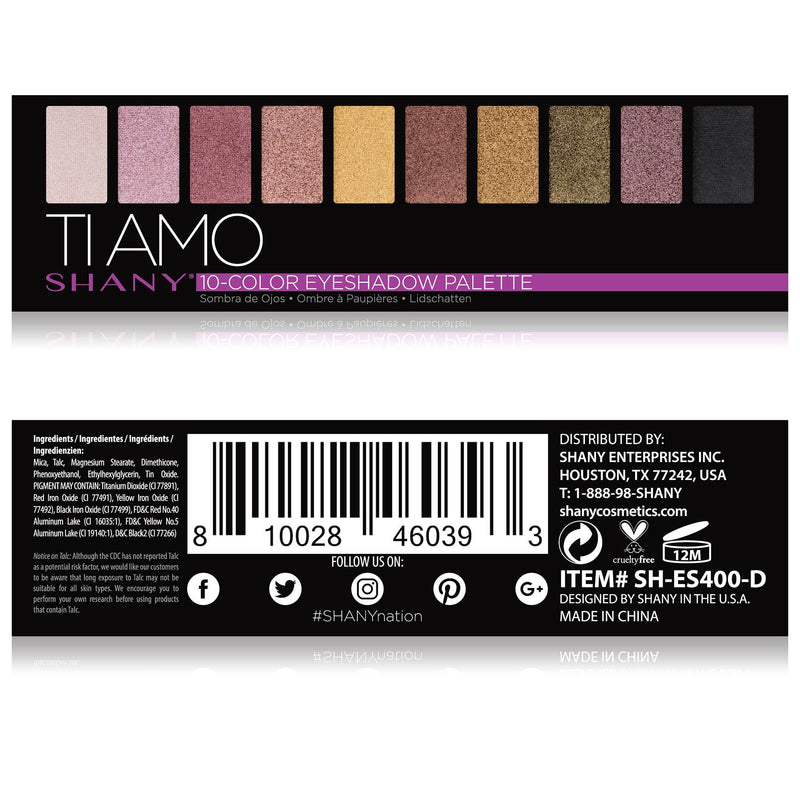 SHANY Ti Amo Mini Eyeshadow Palette - 10 Neutral Eyeshadows with Mirror - TI AMO - ITEM# SH-ES400-D - The SHANY Ti Amo Eyeshadow Palette is a collection of 10 neutral, blendable eyeshadows in a handy travel-sized makeup palette with a mirror. Show off your love for nudes and neutrals with this eye palette that contain