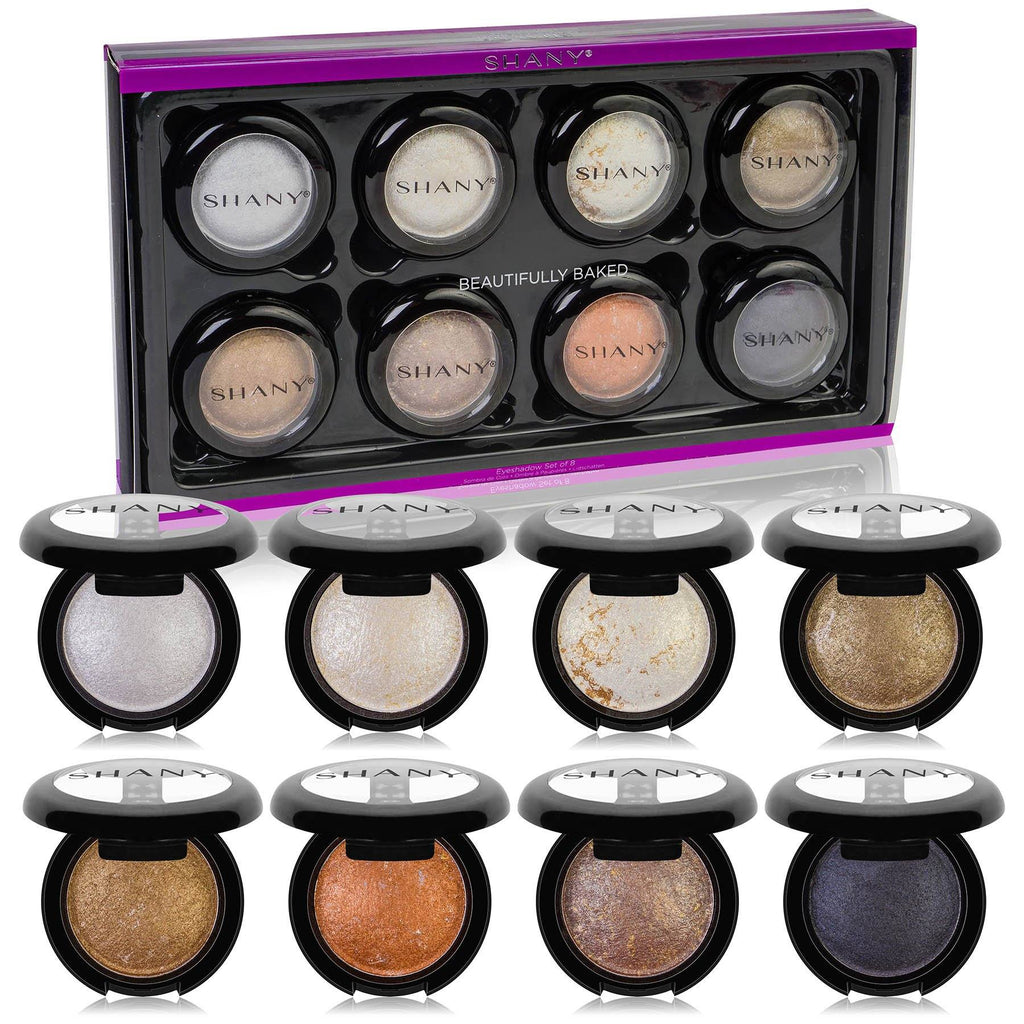 SHANY Beautifully Baked Eyeshadow Set - 8 Individual Shimmery and Pearly Eye Shadows Compact in Classic Neutral Shades for All Skin Tones - SHOP  - EYE SHADOW - ITEM# SH-ES550