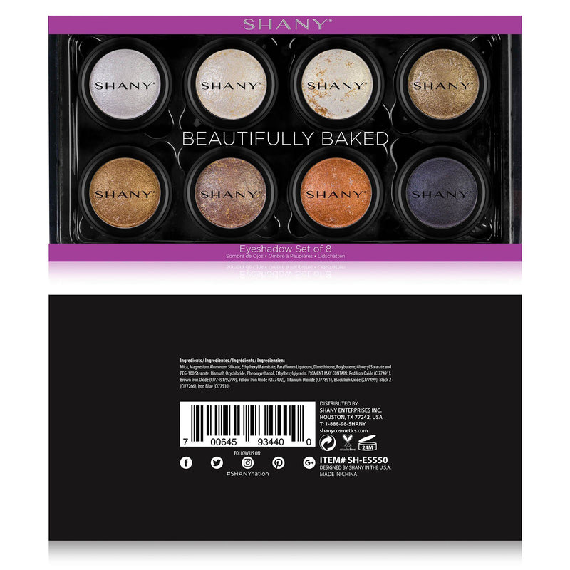 SHANY Beautifully Baked Eyeshadow Set - 8 Pearly Eye Shadows in Neutral Shades -  - ITEM# SH-ES550 - The SHANY Beautifully Baked Eyeshadow Set holds eight individual shimmery and pearly eye shadows in classic neutral shades. Each of these baked shadows are made with a soft and weightless formula with shades that are s