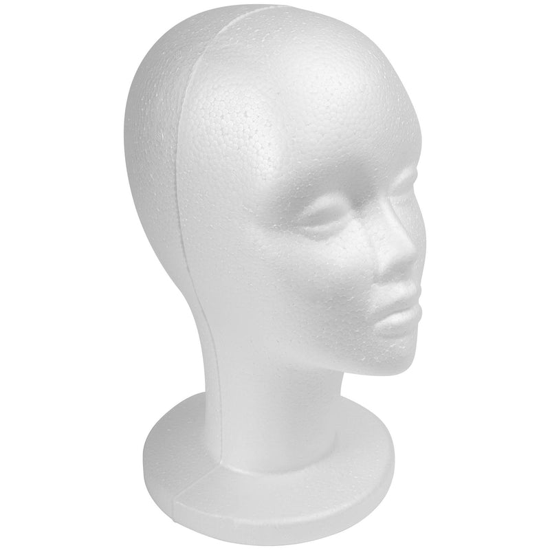 SHANY Styrofoam Model Head - Professional Hat and Wig White Foam Mannequin -  12 Inches  Female Practice Head with Base Stand - 1 PC - SHOP 1PC - FOAM HEADS - ITEM# SH-FOAM13-1PC