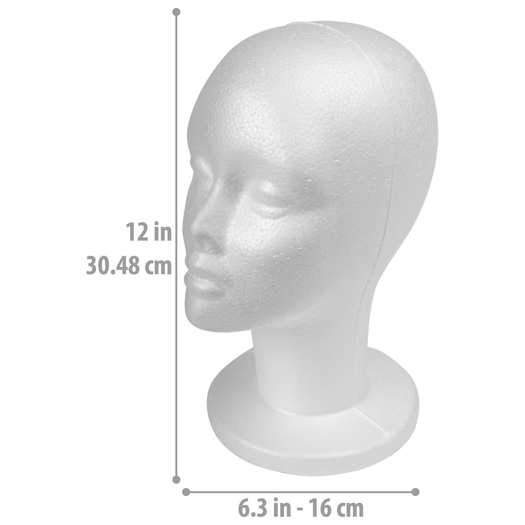 SHANY Styrofoam  12 Inches  Model Head -  - ITEM# SH-FOAM13-PARENT - Costume wig styrofoam head mannequin display front,women practice head training head female head foam,Cosmetology kit hairdressing exhibitor doll female,Professional training extension model styling bald,Makeup artist students personal accessories hat - UPC# 700645936466