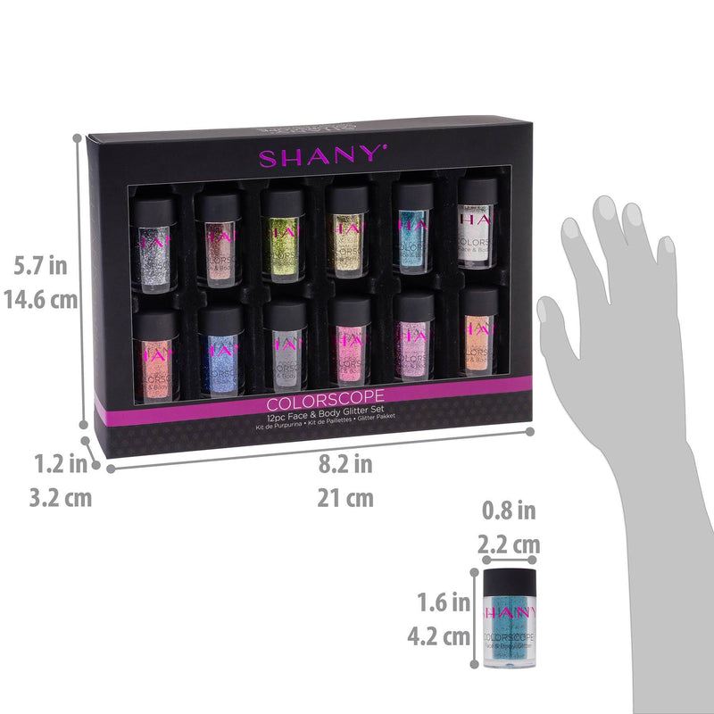 SHANY Colorscope 12-Color Face & Body Glitter Set -  - ITEM# SH-GL001 - Best seller in cosmetics BODY MAKEUP category