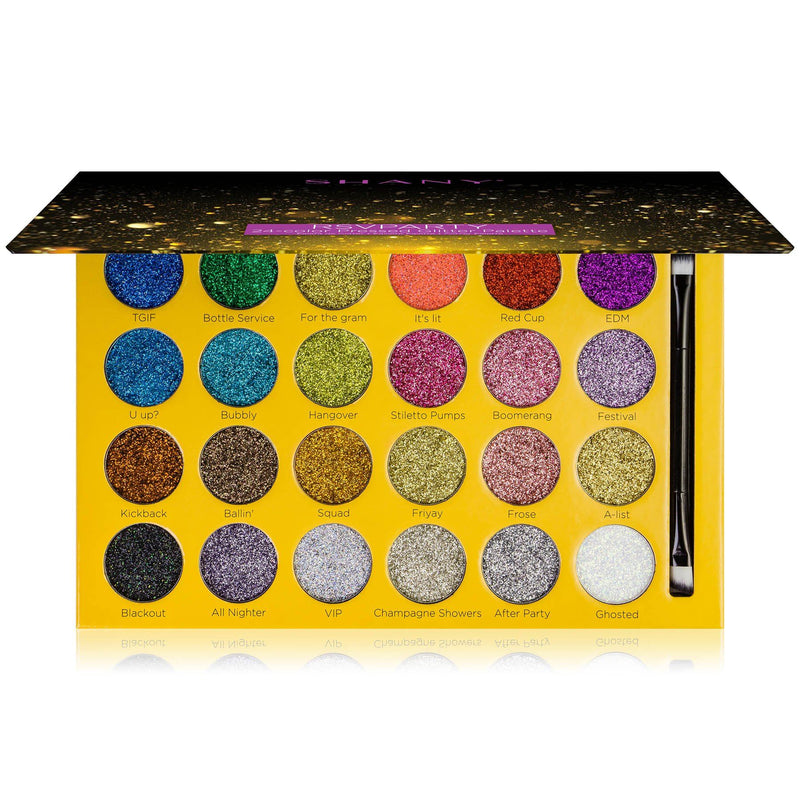 SHANY RSVParty Glitter Eyeshadow Palette - 24 Long-Lasting Pressed Glitter Pigments for Face and Body - Ultra Pigmented Glitter Makeup set with Brush. - SHOP  - MAKEUP SETS - ITEM# SH-GLITTER-A