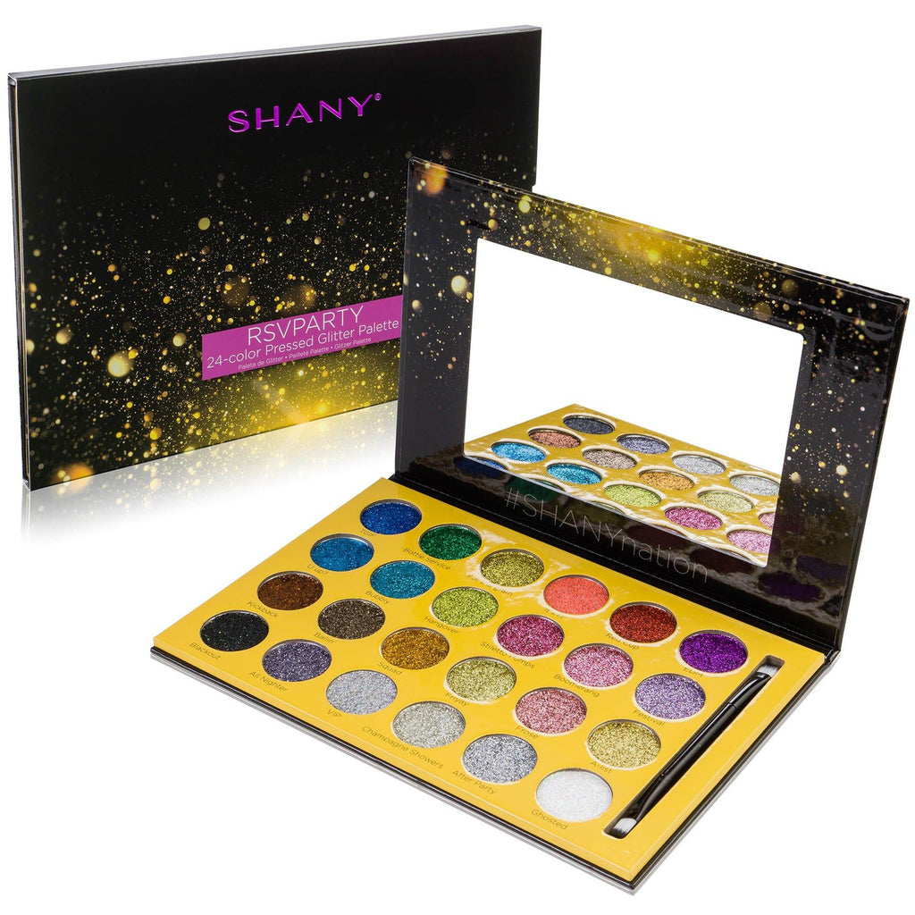 SHANY RSVParty 24-Color Glitter Palette -  - ITEM# SH-GLITTER-A - glitter palette glitter makeup Pigment sparkly,Mermaid Glitter Eyeshadow Palette,Pressed Glitters body makeup loose glitter chunky,makeup palette eye make-up color palette cosmetics,Pigment Glitter Dust Powder Set - UPC# 700645935339