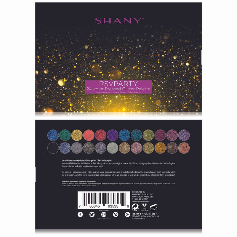 SHANY RSVParty Glitter Palette - 24 Pressed Glitter Pigments for Face and Body -  - ITEM# SH-GLITTER-A - The SHANY RSVParty Glitter Palette is a collection of 24 beautiful pressed glitter pigments. These ultra pigmented, dazzling glitters are perfect to use on your body, face, hair and nails. These long-lasting presse